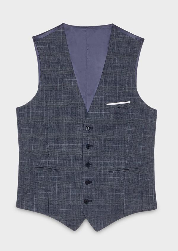 Gilet de costume coordonnable en laine mélangée bleu chambray Prince de Galles - Father and Sons 26786