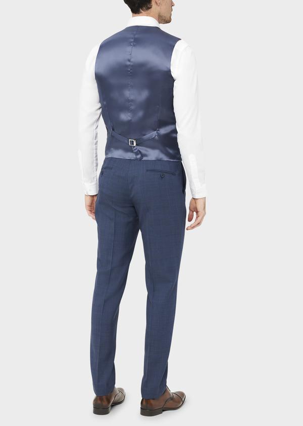 Gilet de costume en laine bleue Prince de Galles - Father and Sons 37077