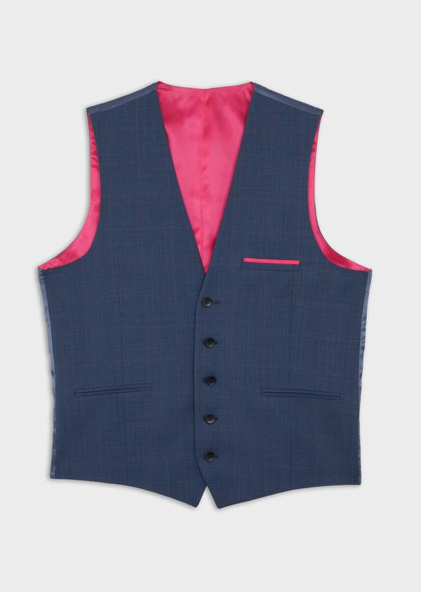 Gilet de costume en laine bleue Prince de Galles - Father and Sons 37074