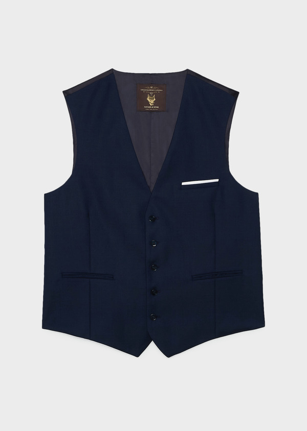 Gilet de costume en laine Vitale Barberis Canonico bleu marine Prince de Galles - Father and Sons 20013