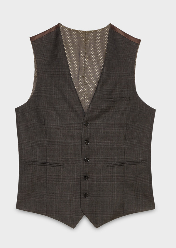 Gilet de costume coordonnable en laine mélangée marron Prince de Galles - Father and Sons 27726