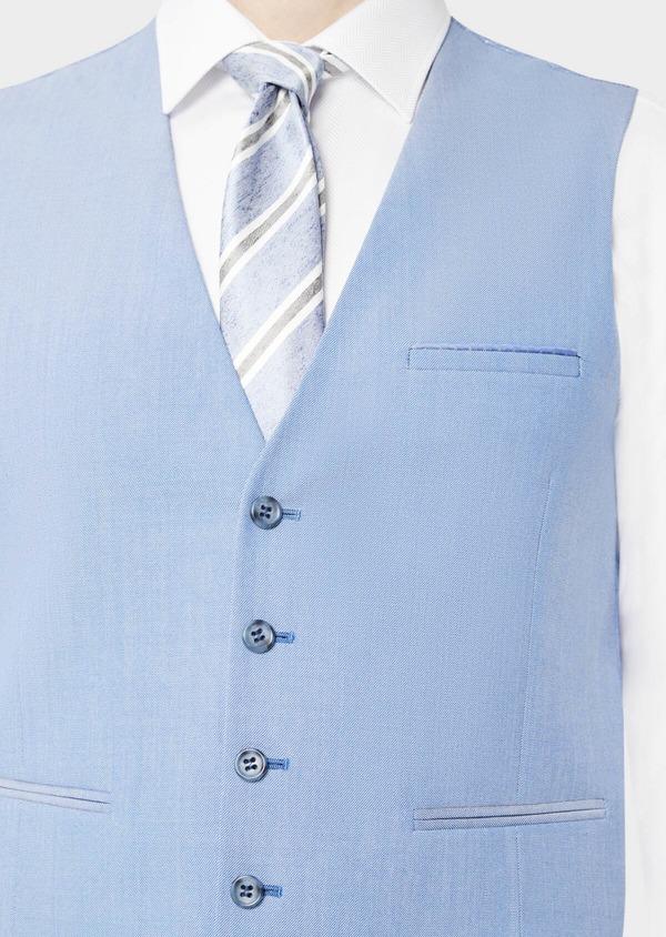 Gilet de costume en laine unie bleue - Father and Sons 39090