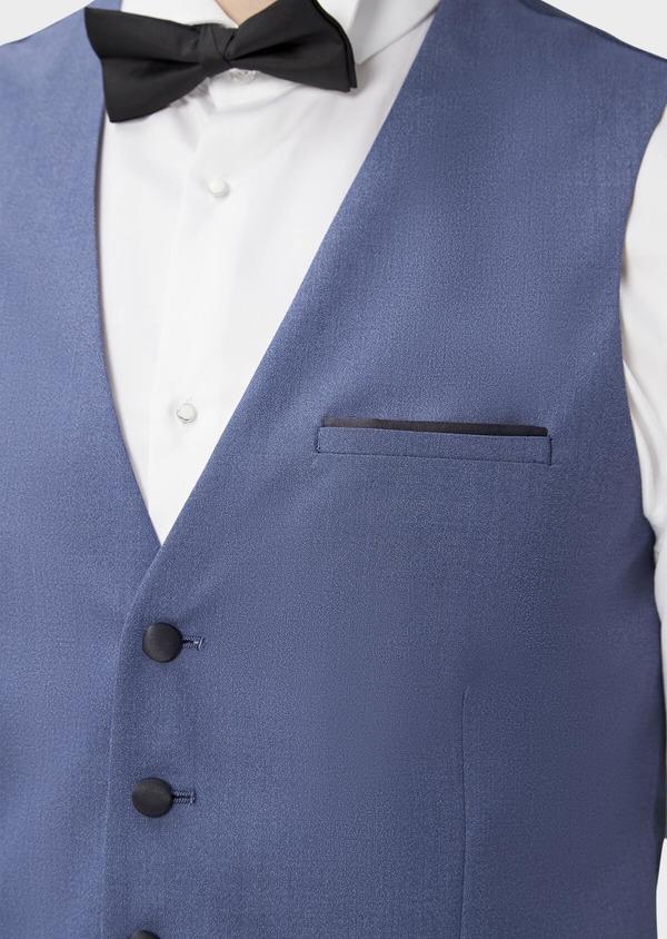 Gilet de smoking en laine et soie uni bleu chambray - Father and Sons 39154
