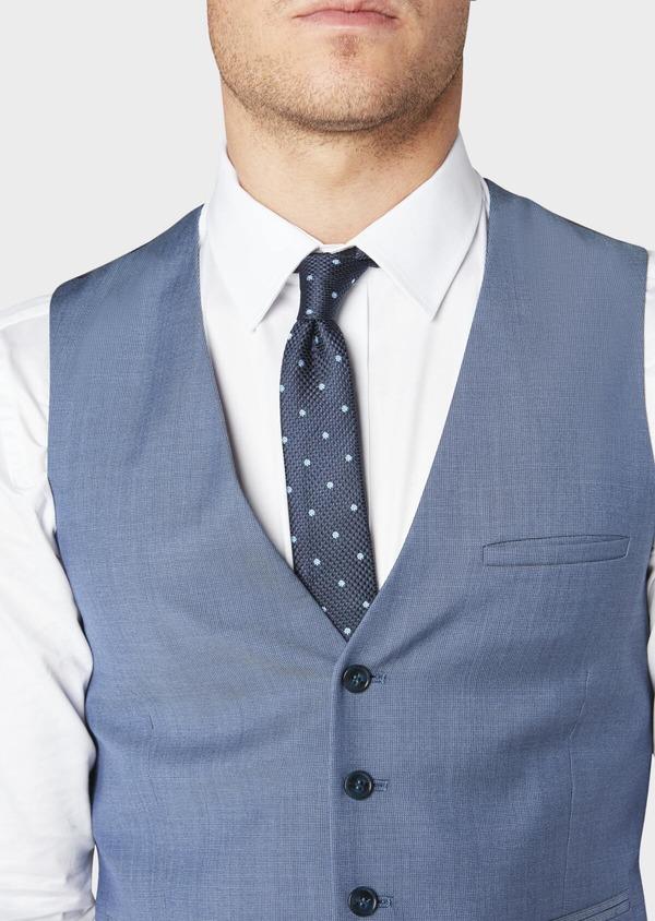 Gilet de costume coordonnable en laine mélangée unie bleu chambray - Father and Sons 31074