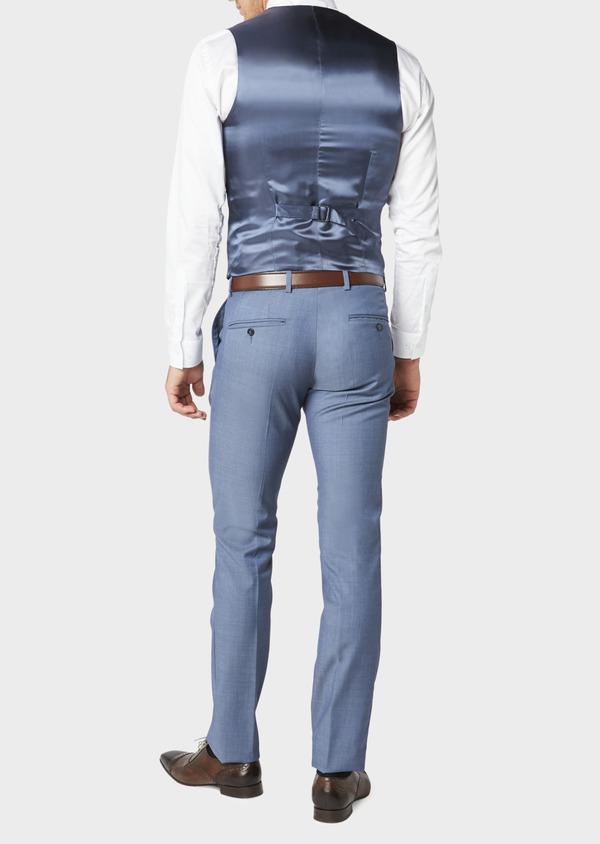 Gilet de costume coordonnable en laine mélangée unie bleu chambray - Father and Sons 31073