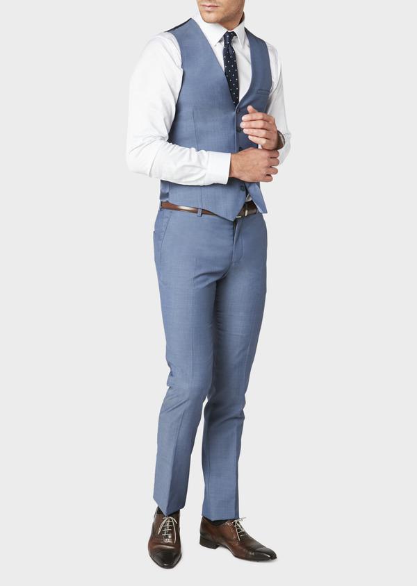 Gilet de costume coordonnable en laine mélangée unie bleu chambray - Father and Sons 31072