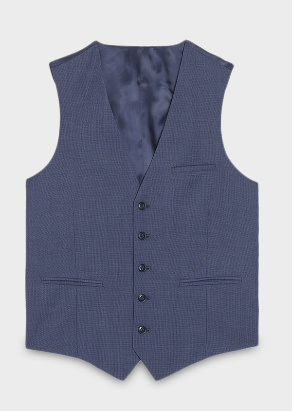 Gilet de costume coordonnable en laine mélangée unie bleu chambray - Father and Sons 31070