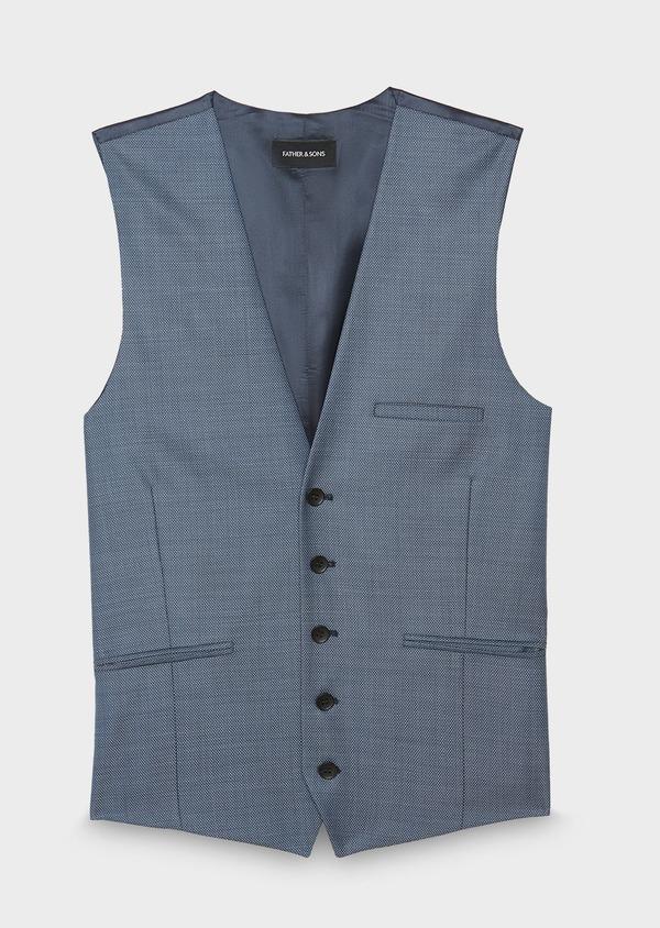Gilet de costume en laine unie bleu chambray - Father and Sons 30949