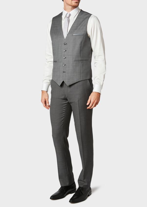 Gilet de costume coordonnable en laine mélangée unie grise - Father and Sons 31512