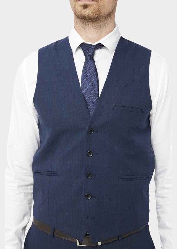 Gilet de costume en laine mélangée bleu Prince de Galles - Father and Sons 37090
