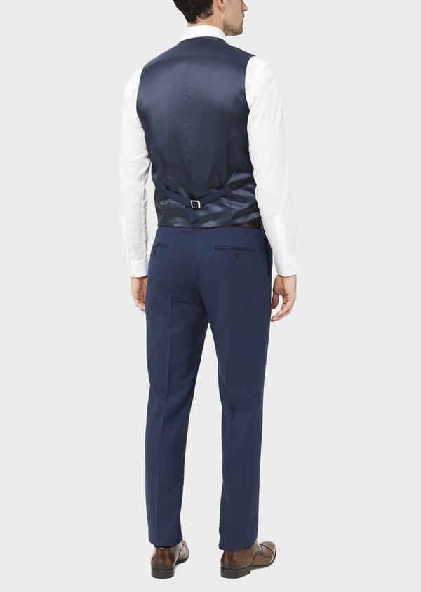 Gilet de costume en laine mélangée bleu Prince de Galles - Father and Sons 37089