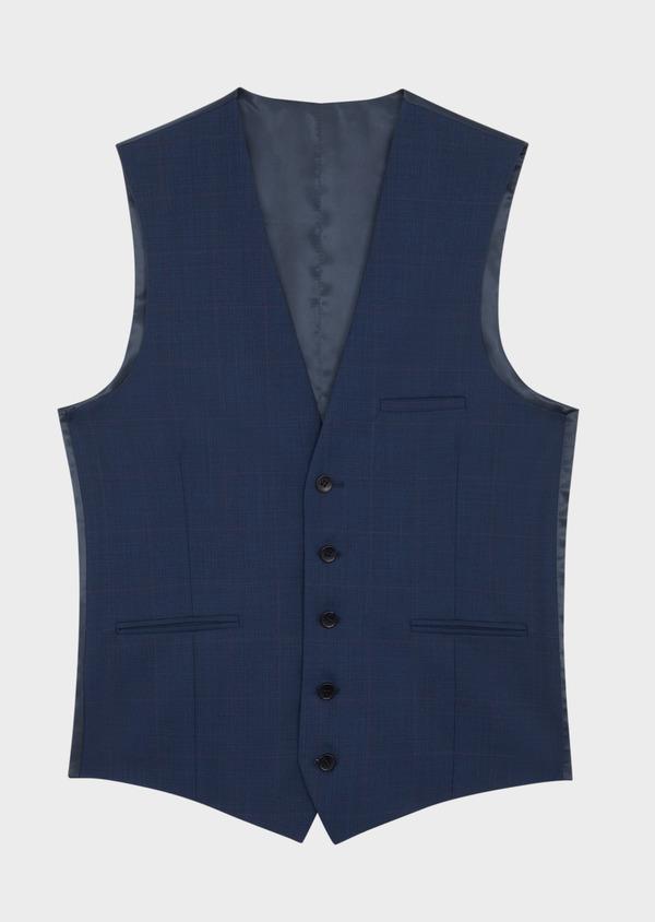 Gilet de costume en laine mélangée bleu Prince de Galles - Father and Sons 37086