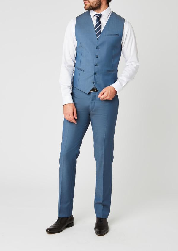 Gilet de costume en laine bleu gris - Father and Sons 20199
