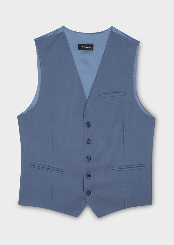 Gilet de costume en laine bleu gris - Father and Sons 20197