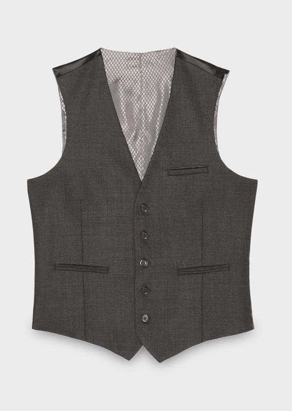 Gilet de costume voyage coordonnable en laine unie grise - Father and Sons 28387