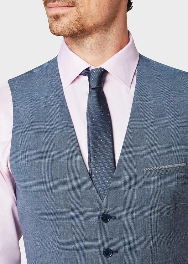 Gilet de costume en laine bleu chambray Prince de Galles - Father and Sons 33119