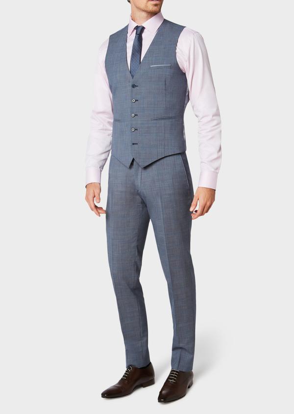 Gilet de costume en laine bleu chambray Prince de Galles - Father and Sons 33117