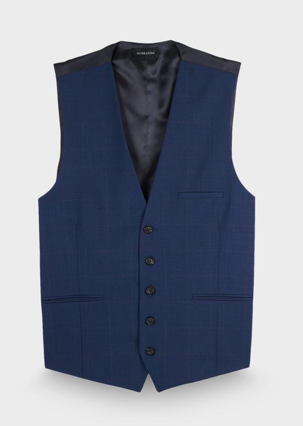 Gilet de costume en laine mélangée bleu cobalt Prince de Galles - Father and Sons 28742