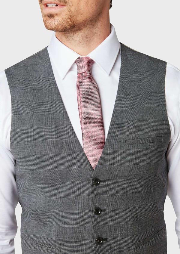 Gilet de costume en laine mélangée grise Prince de Galles - Father and Sons 33099