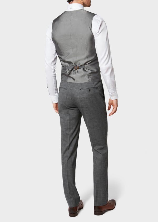 Gilet de costume en laine mélangée grise Prince de Galles - Father and Sons 33098