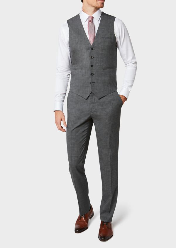 Gilet de costume en laine mélangée grise Prince de Galles - Father and Sons 33097