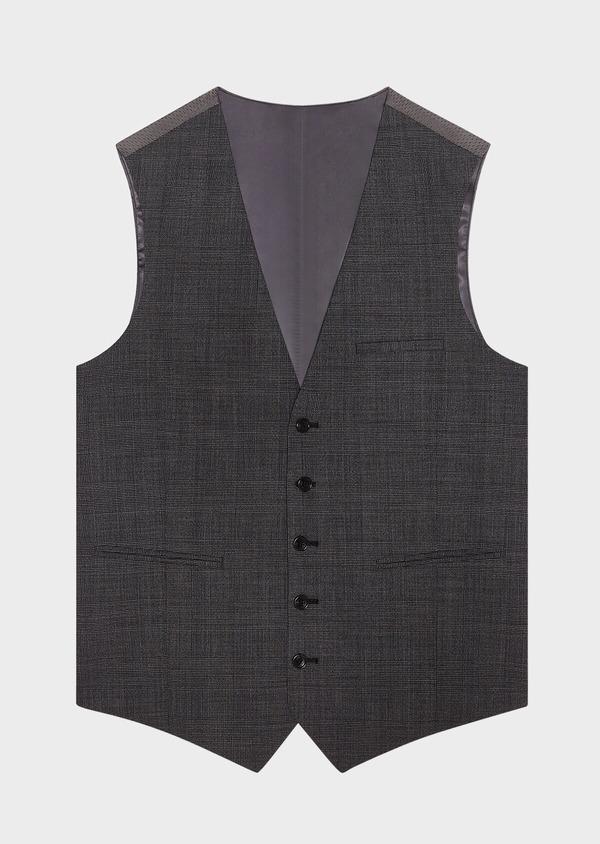 Gilet de costume en laine mélangée grise Prince de Galles - Father and Sons 33095