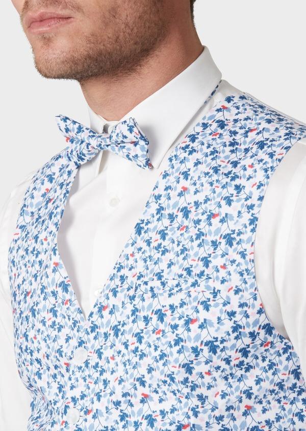 Gilet de costume en coton à motif fleuri bleu - Father and Sons 33842