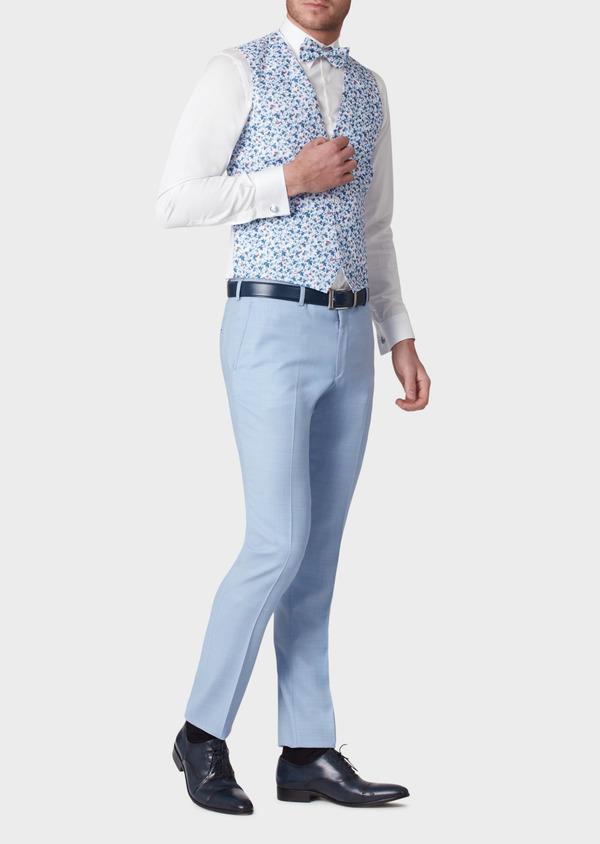 Gilet de costume en coton à motif fleuri bleu - Father and Sons 33840