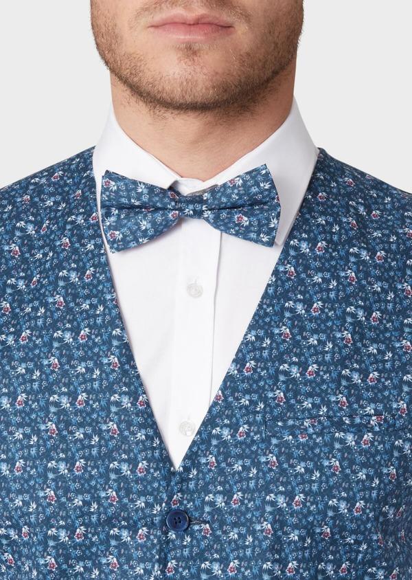 Gilet de costume en coton à motif fleuri bleu marine - Father and Sons 33847