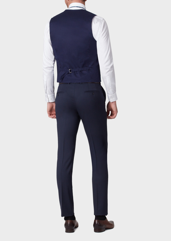 Gilet de costume en coton à motif fleuri bleu marine - Father and Sons 33846