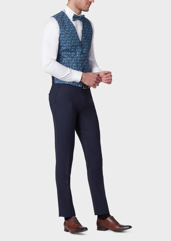 Gilet de costume en coton à motif fleuri bleu marine - Father and Sons 33845