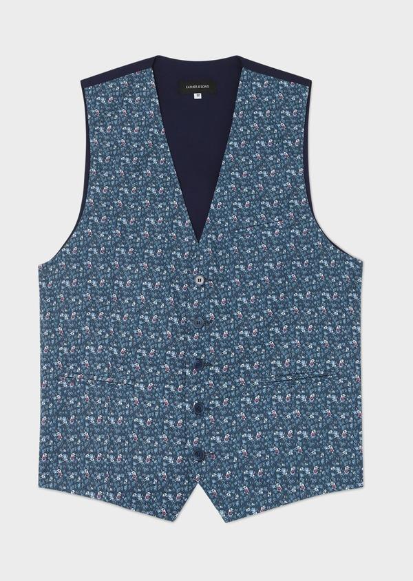 Gilet de costume en coton à motif fleuri bleu marine - Father and Sons 33843