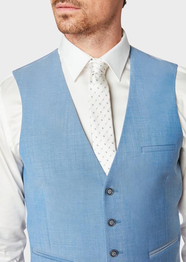 Gilet de costume en laine unie bleu azur - Father and Sons 33128