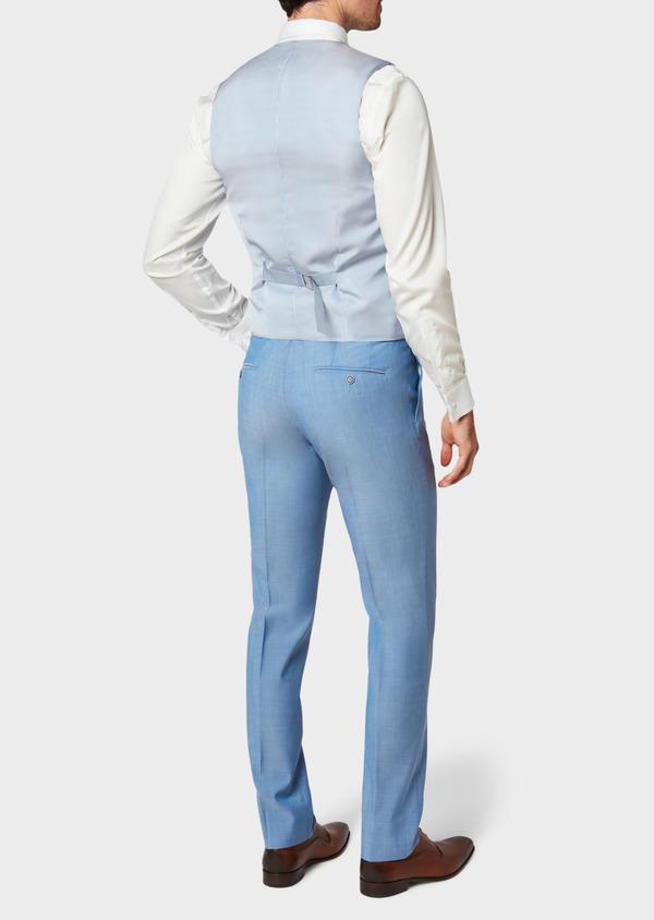Gilet de costume en laine unie bleu azur - Father and Sons 33127