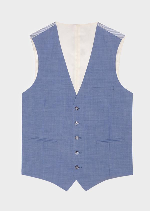 Gilet de costume en laine unie bleu azur - Father and Sons 33125