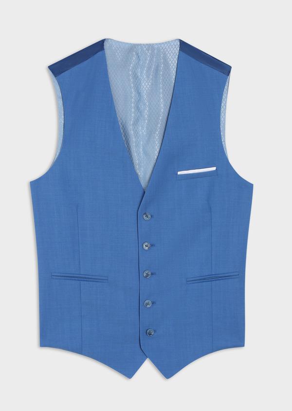 Gilet de costume en laine unie bleu azur - Father and Sons 36002
