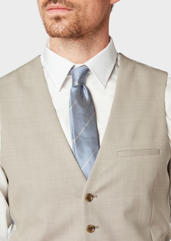 Gilet de costume en laine unie beige - Father and Sons 33114