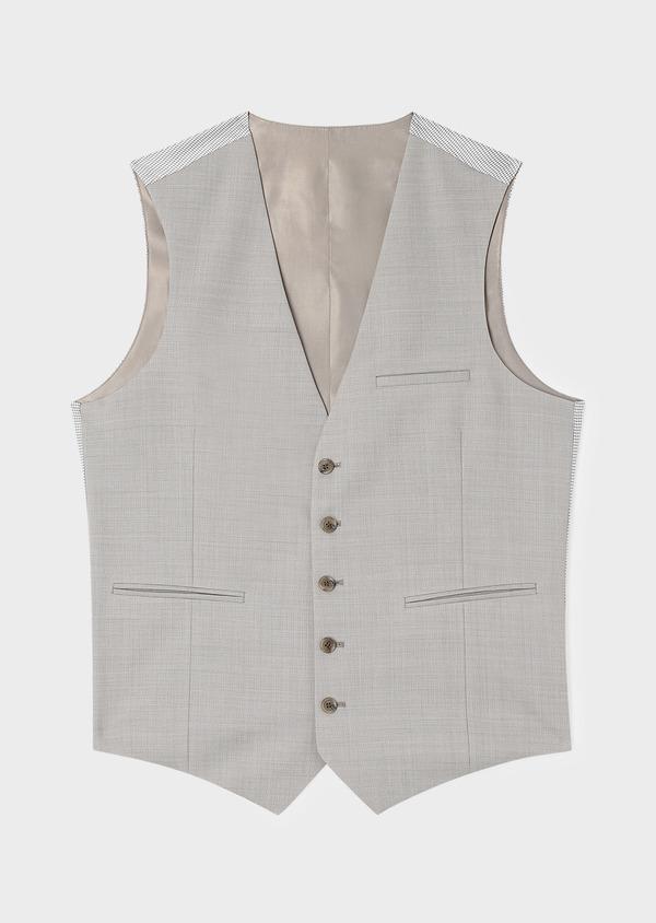 Gilet de costume en laine unie beige - Father and Sons 33110