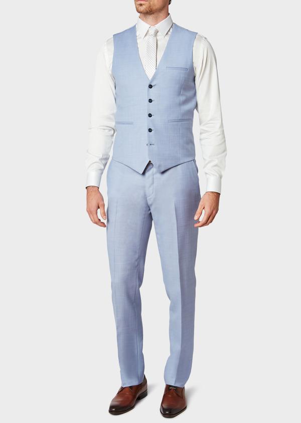 Gilet de costume en laine unie bleu ciel - Father and Sons 33082