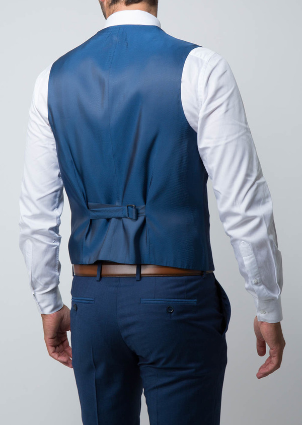 Gilet de costume coordonnable en laine unie bleu cobalt - Father and Sons 28711