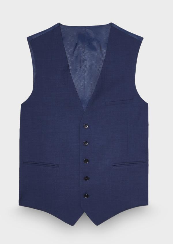 Gilet de costume coordonnable en laine unie bleu cobalt - Father and Sons 28709
