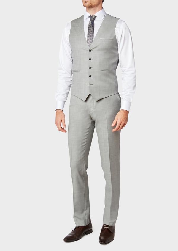 Gilet de costume en laine unie grise - Father and Sons 33102