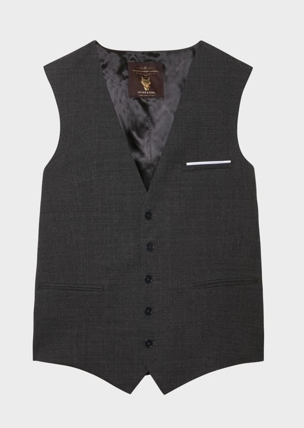 Gilet de costume voyage en laine unie grise - Father and Sons 31825