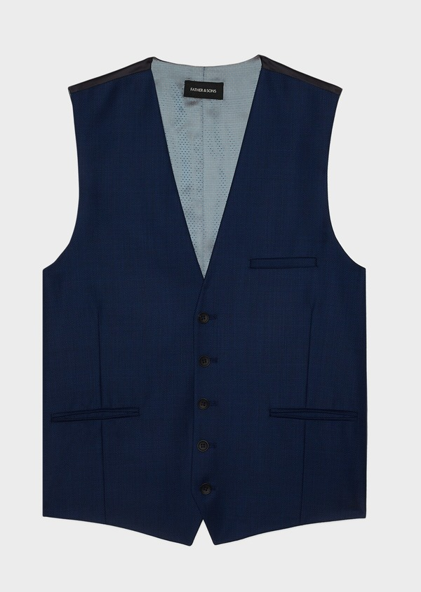 Gilet de costume en laine unie bleu indigo - Father and Sons 33156