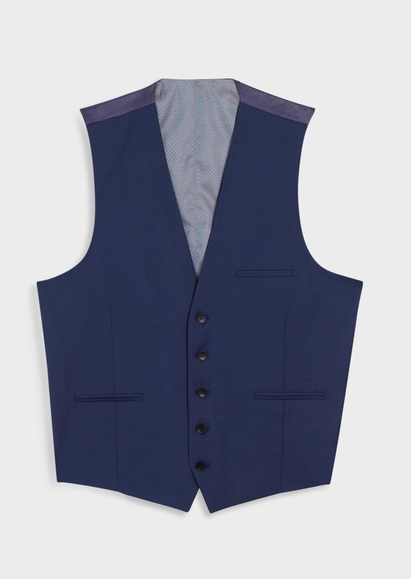 Gilet de costume en laine unie bleu indigo - Father and Sons 34386