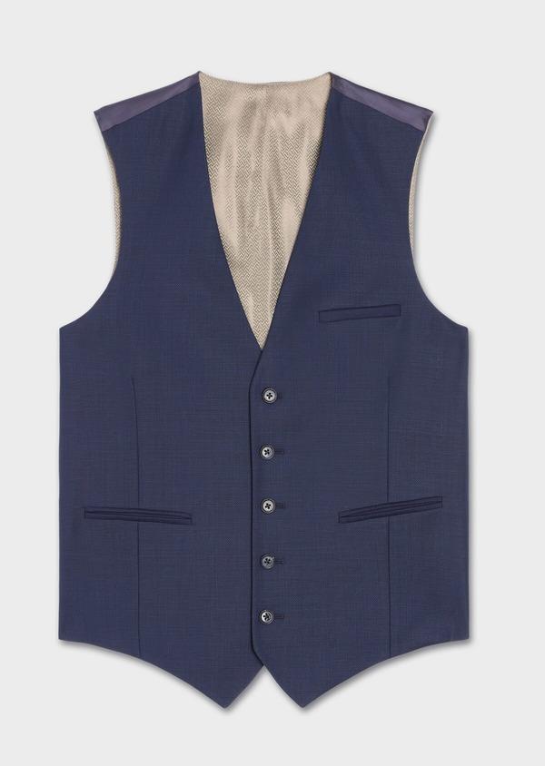 Gilet de costume en laine unie bleu indigo - Father and Sons 35288