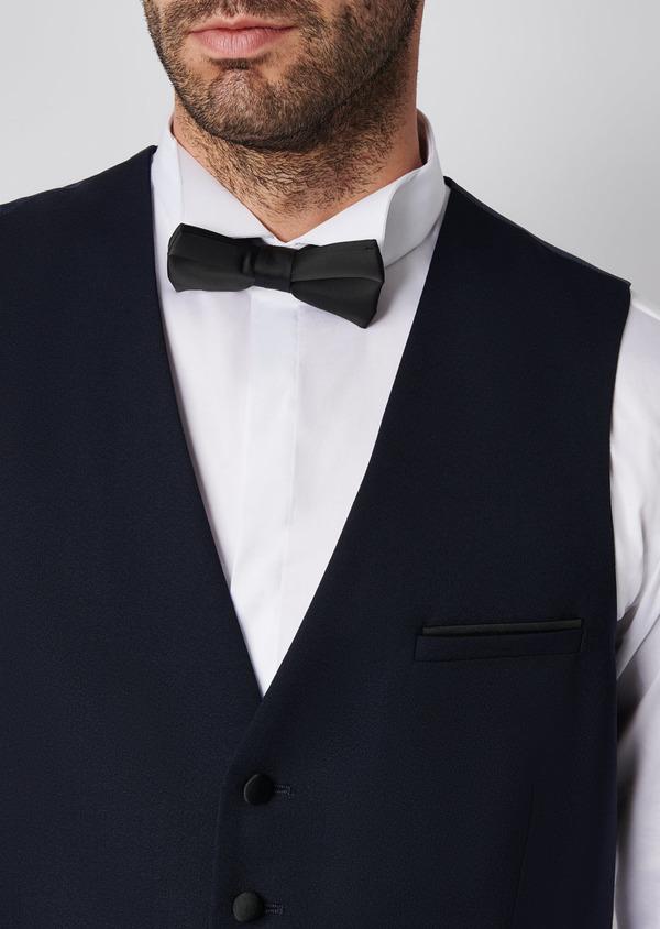 Gilet de smoking coordonnable en laine unie bleu marine - Father and Sons 28724