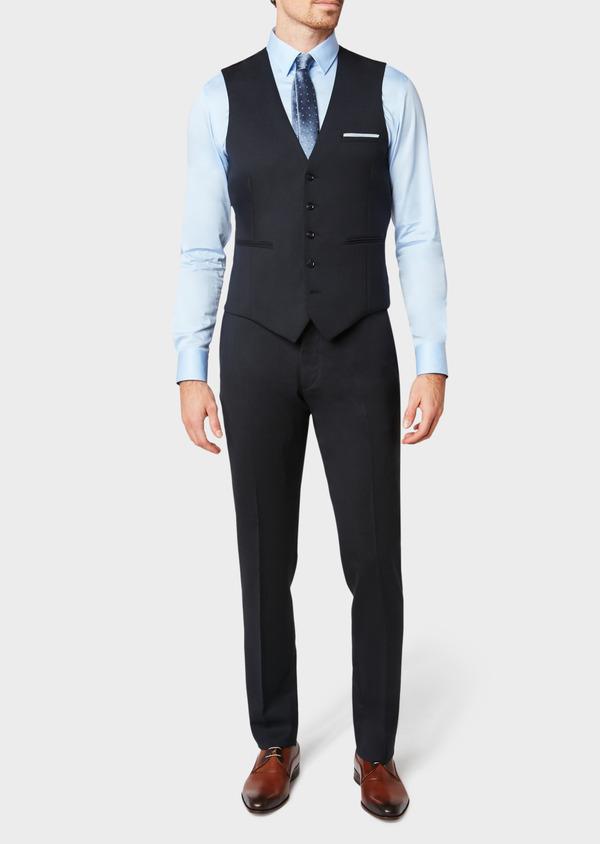 Gilet de costume en laine mélangée unie bleu marine - Father and Sons 33092
