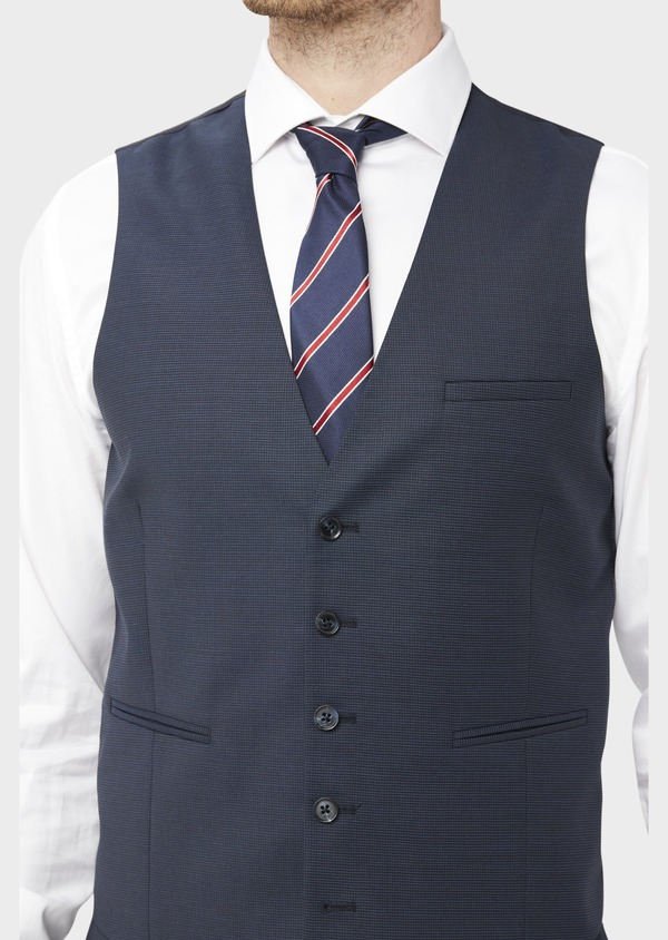 Gilet de costume en laine mélangée unie bleu marine - Father and Sons 36938