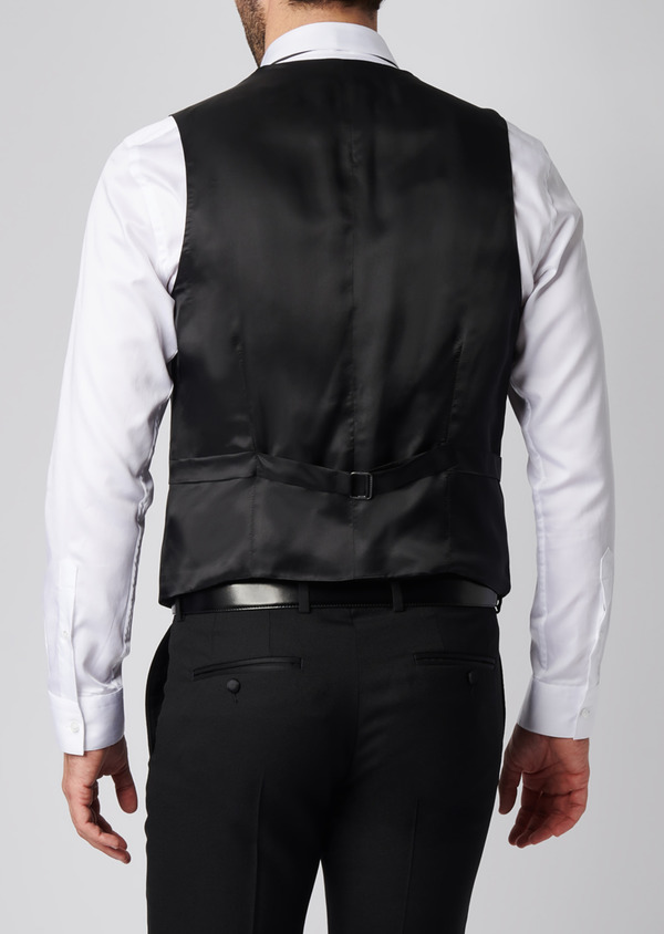Gilet de smoking coordonnable en laine unie noire - Father and Sons 28730